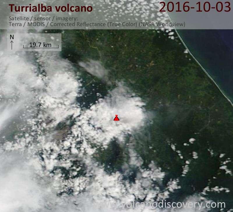 Satellite image of Turrialba volcano on  3 Oct 2016