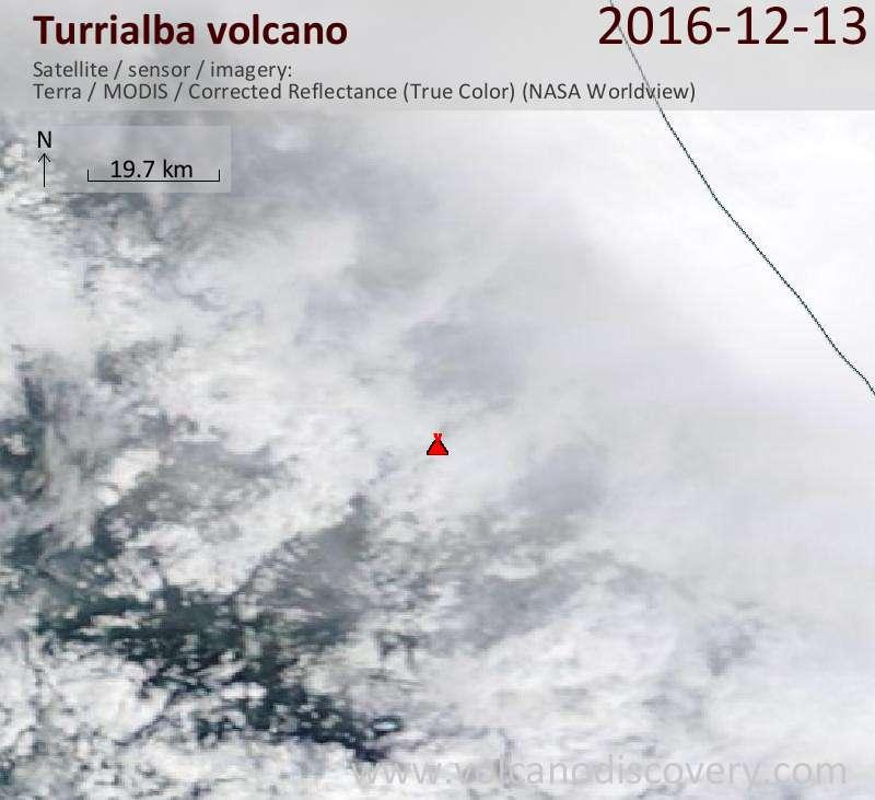Satellite image of Turrialba volcano on 13 Dec 2016