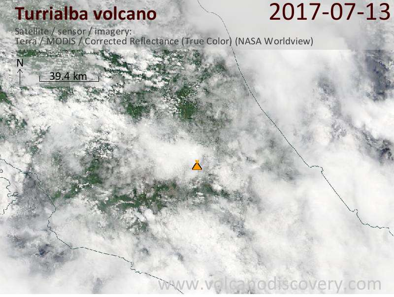 Satellite image of Turrialba volcano on 13 Jul 2017