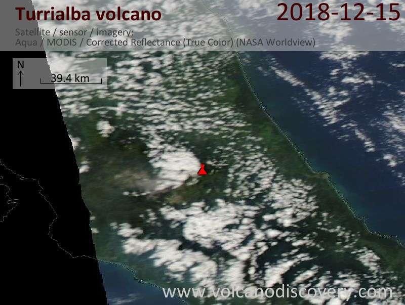 Satellite image of Turrialba volcano on 16 Dec 2018