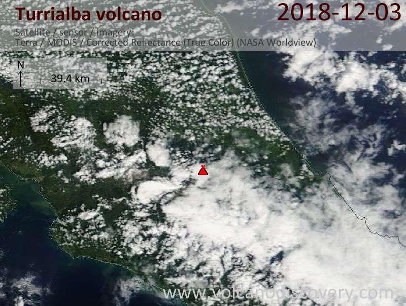 Satellite image of Turrialba volcano on  3 Dec 2018