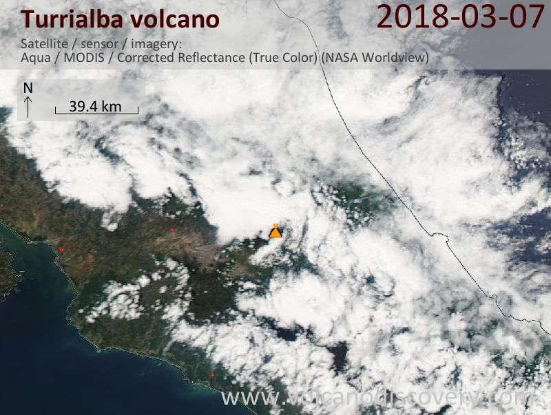 Satellite image of Turrialba volcano on  7 Mar 2018