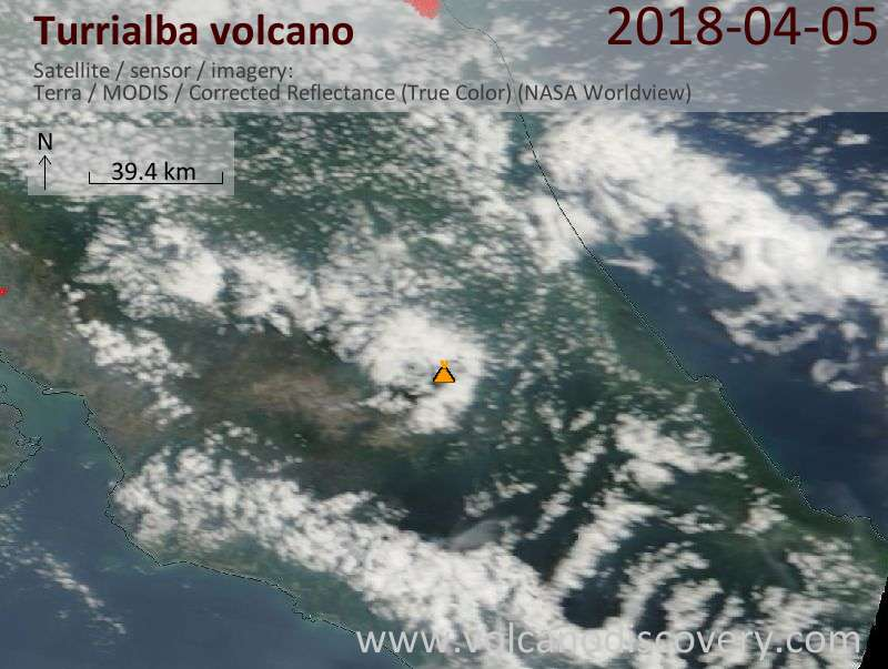 Satellite image of Turrialba volcano on  5 Apr 2018