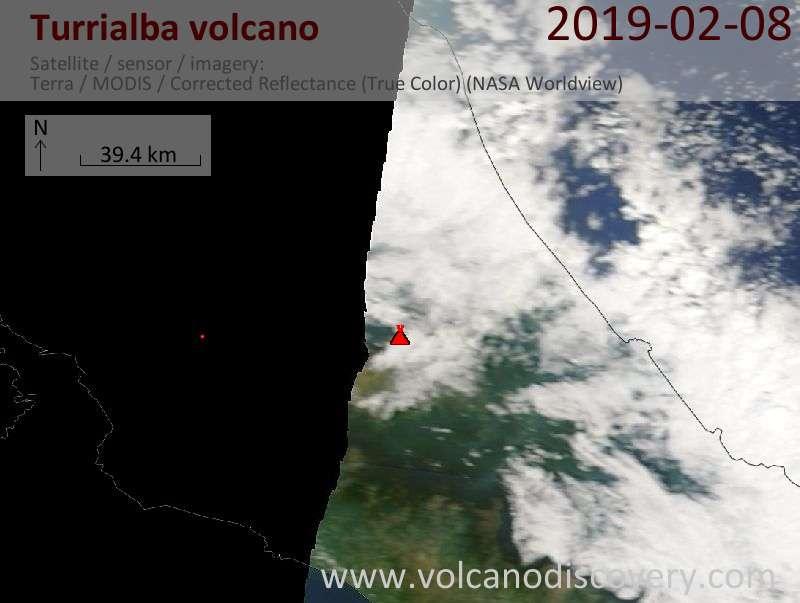 Satellite image of Turrialba volcano on  8 Feb 2019
