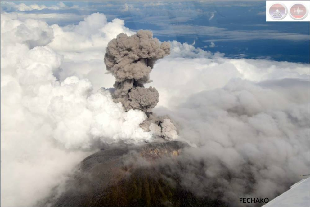 Costa Rica's Turrialba Volcano erupts, as seen from 14,000 feet at 8:29 a.m. on Oct. 30, 2014. (OVSICORI-UNA, via The Tico Times)