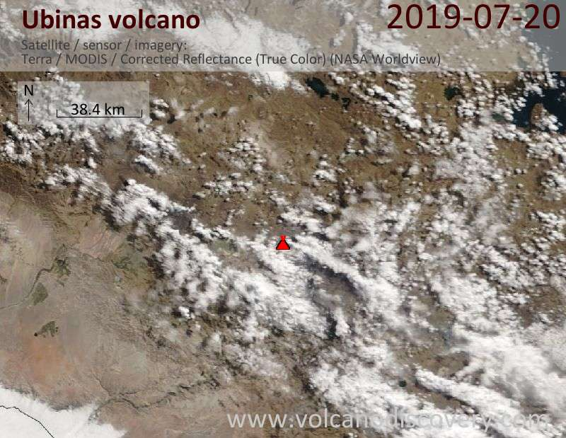 Satellite image of Ubinas volcano on 20 Jul 2019