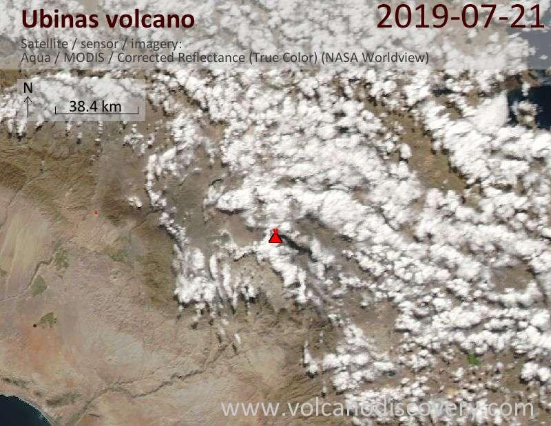 Satellite image of Ubinas volcano on 21 Jul 2019