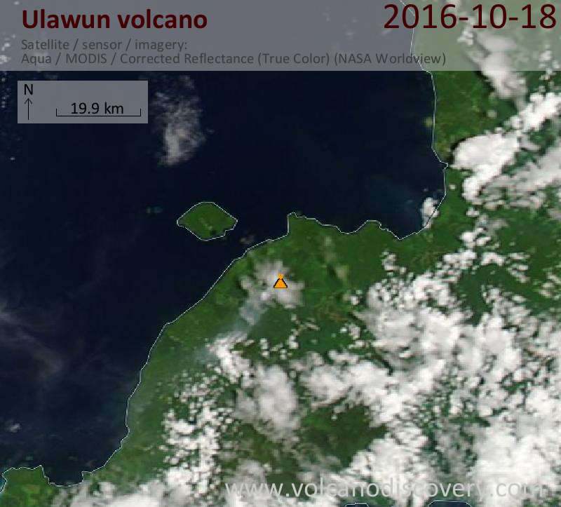 Satellite image of Ulawun volcano on 18 Oct 2016
