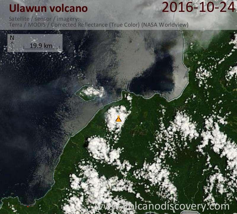 Satellite image of Ulawun volcano on 24 Oct 2016