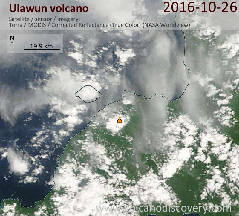 Satellite image of Ulawun volcano on 26 Oct 2016