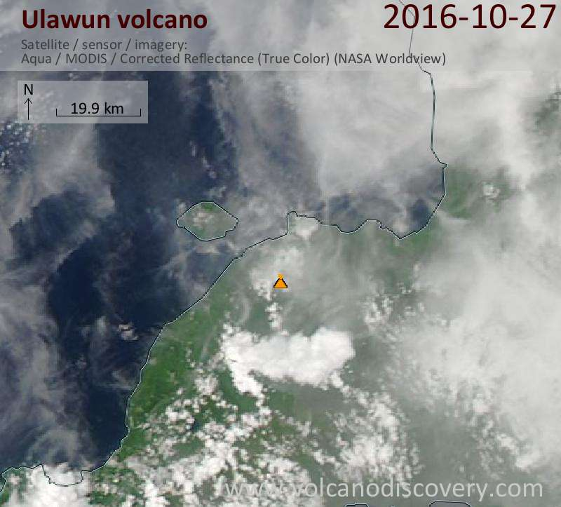 Satellite image of Ulawun volcano on 27 Oct 2016
