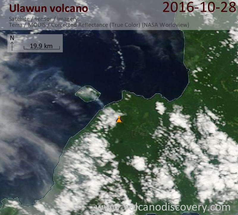 Satellite image of Ulawun volcano on 28 Oct 2016