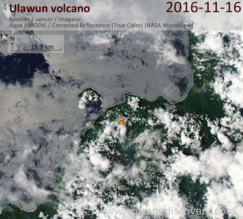 Satellite image of Ulawun volcano on 16 Nov 2016