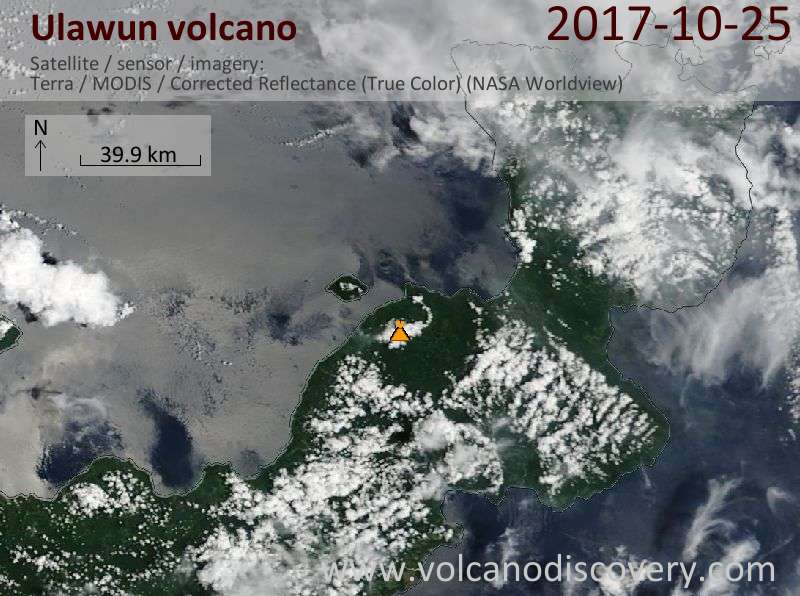 Satellite image of Ulawun volcano on 25 Oct 2017