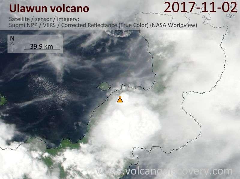 Satellite image of Ulawun volcano on  2 Nov 2017