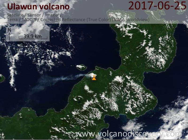 Satellite image of Ulawun volcano on 25 Jun 2017