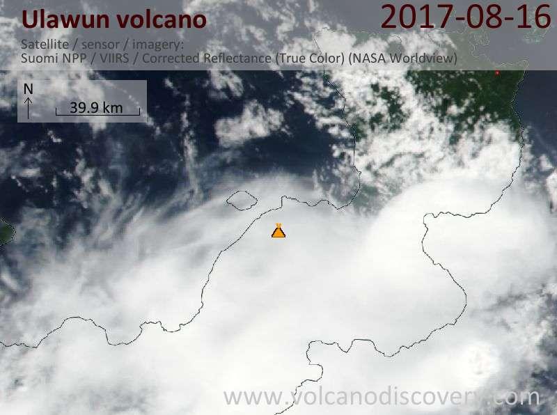 Satellite image of Ulawun volcano on 16 Aug 2017