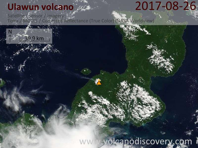 Satellite image of Ulawun volcano on 26 Aug 2017