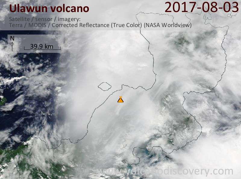 Satellite image of Ulawun volcano on  3 Aug 2017