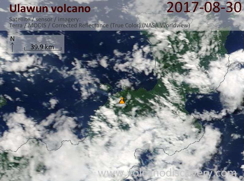 Satellite image of Ulawun volcano on 30 Aug 2017