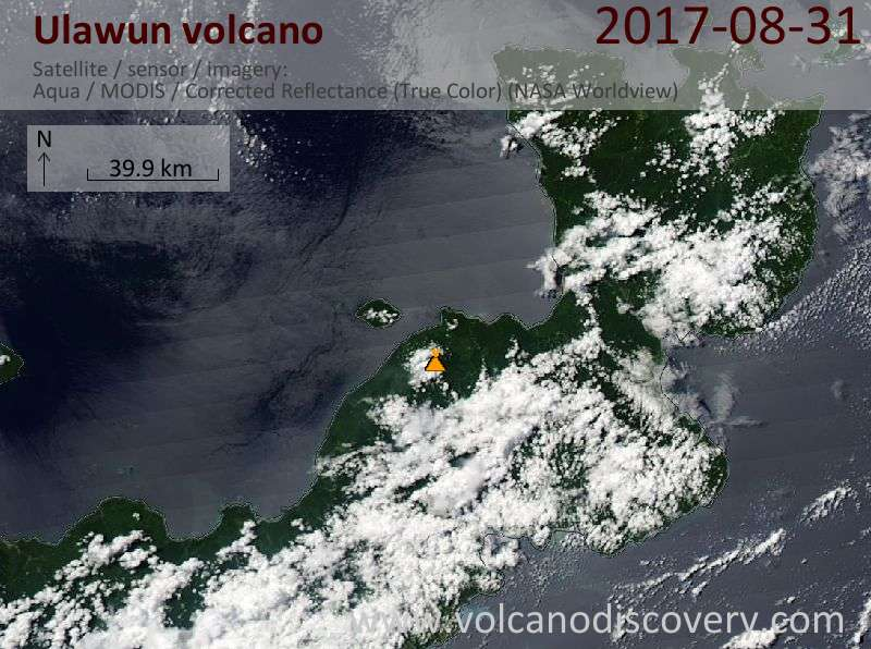 Satellite image of Ulawun volcano on 31 Aug 2017
