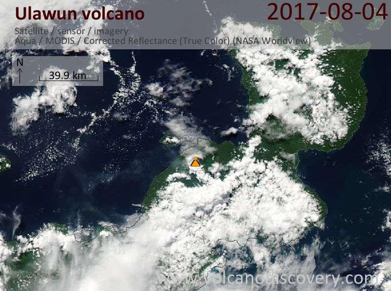 Satellite image of Ulawun volcano on  4 Aug 2017