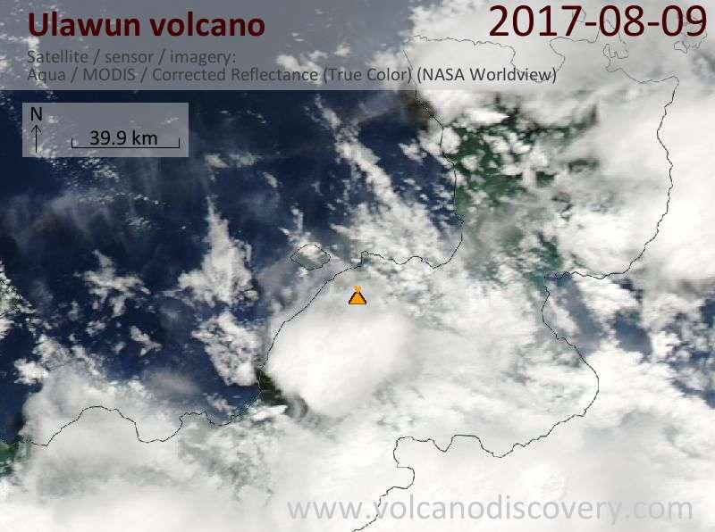 Satellite image of Ulawun volcano on  9 Aug 2017