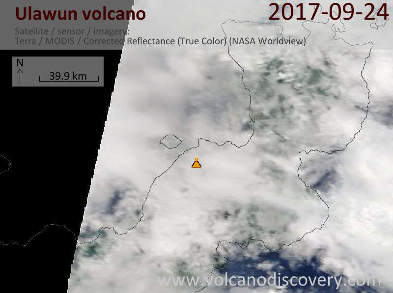 Satellite image of Ulawun volcano on 24 Sep 2017