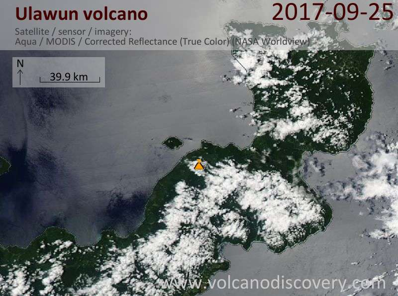 Satellite image of Ulawun volcano on 25 Sep 2017