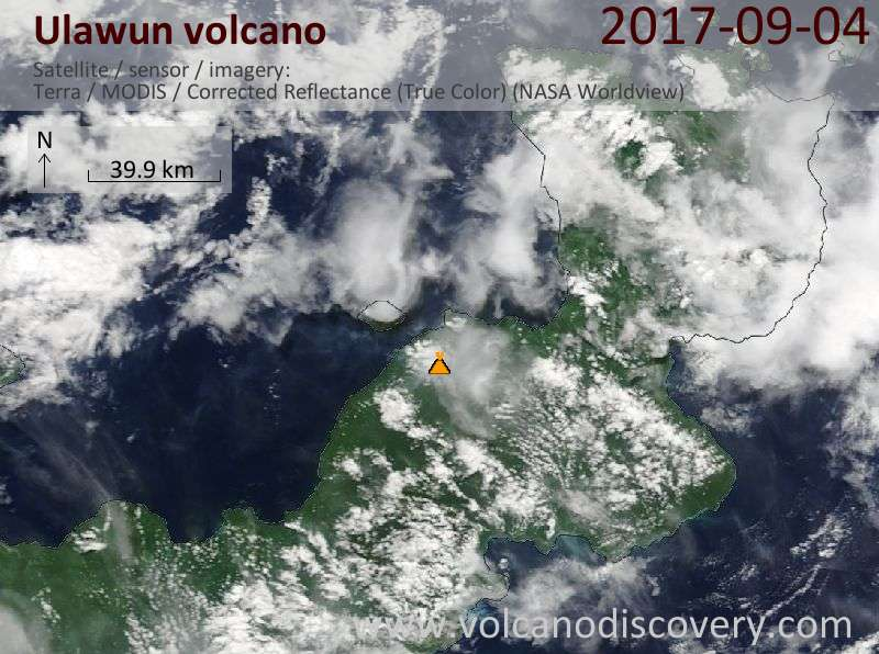 Satellite image of Ulawun volcano on  4 Sep 2017