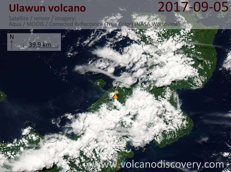 Satellite image of Ulawun volcano on  5 Sep 2017