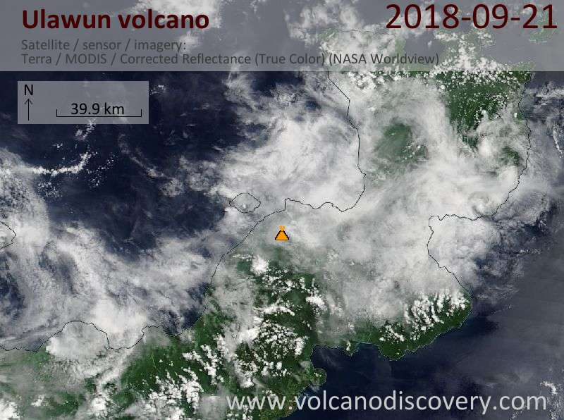 Satellite image of Ulawun volcano on 21 Sep 2018