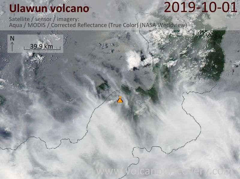 Satellite image of Ulawun volcano on  1 Oct 2019