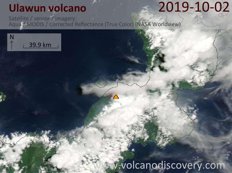 Satellite image of Ulawun volcano on  2 Oct 2019