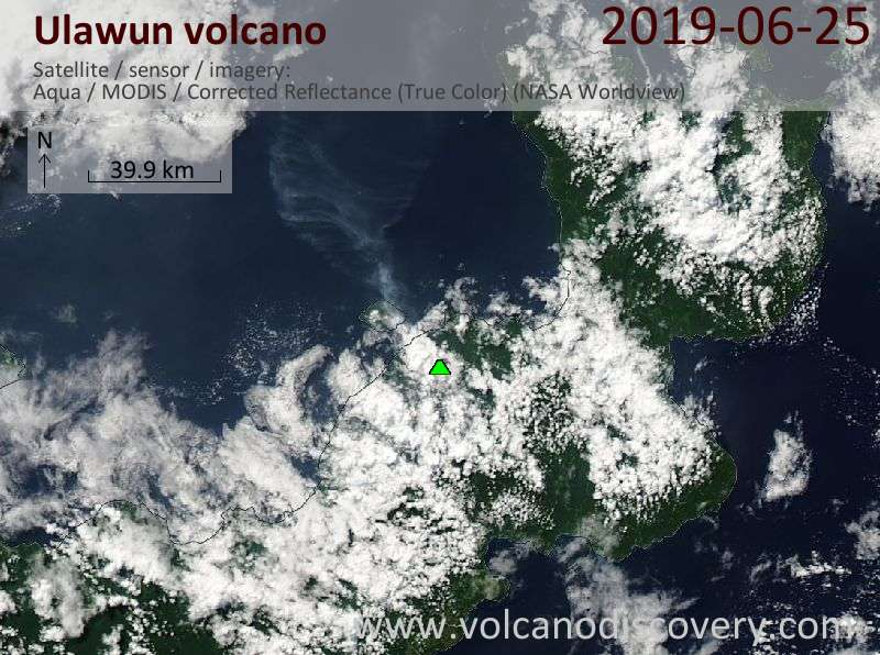 Satellite image of Ulawun volcano on 25 Jun 2019