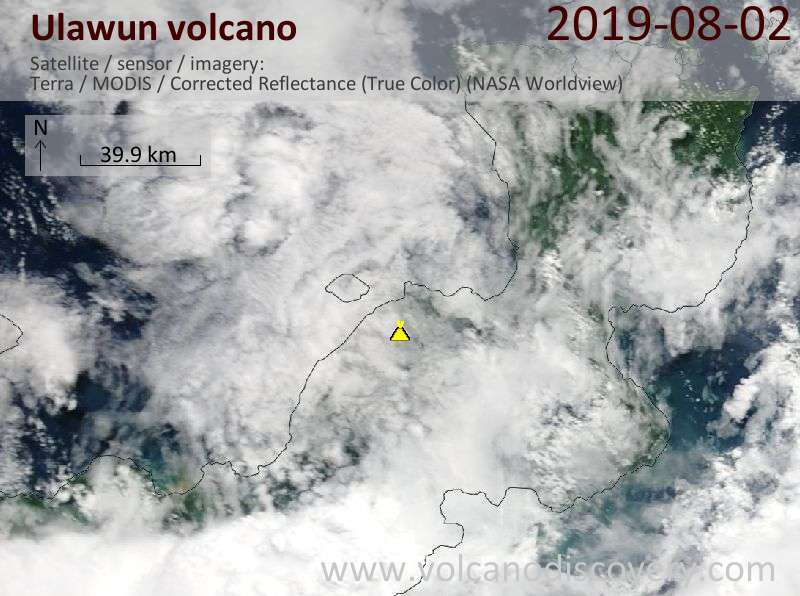 Satellitenbild des Ulawun Vulkans am  2 Aug 2019