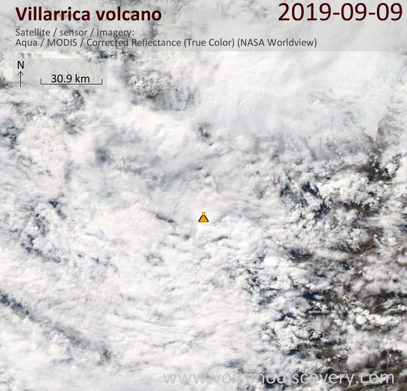 Satellitenbild des Villarrica Vulkans am  9 Sep 2019