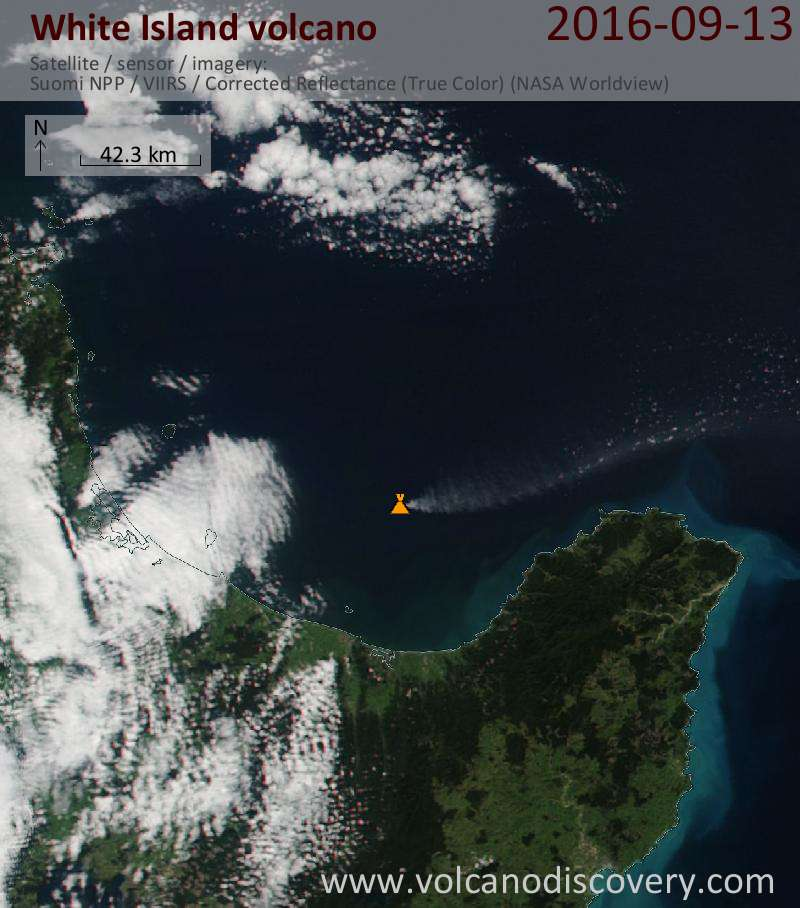 Ash plume from White Island today seen on Nasa's Suomi NPP satellite