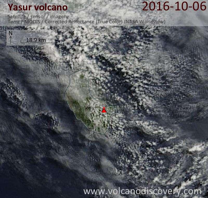 Satellite image of Yasur volcano on  6 Oct 2016