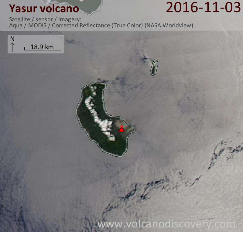 Satellite image of Yasur volcano on  3 Nov 2016