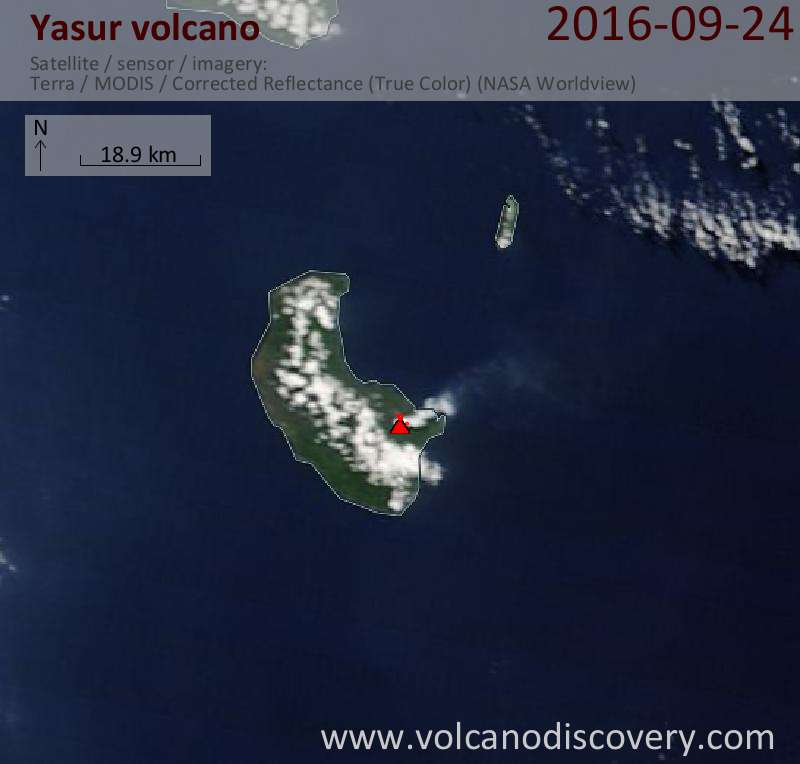 Satellite image of Yasur volcano on 24 Sep 2016