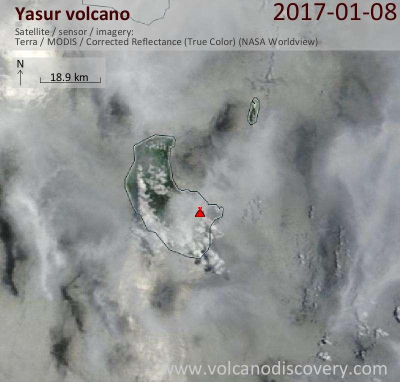 Satellite image of Yasur volcano on  8 Jan 2017