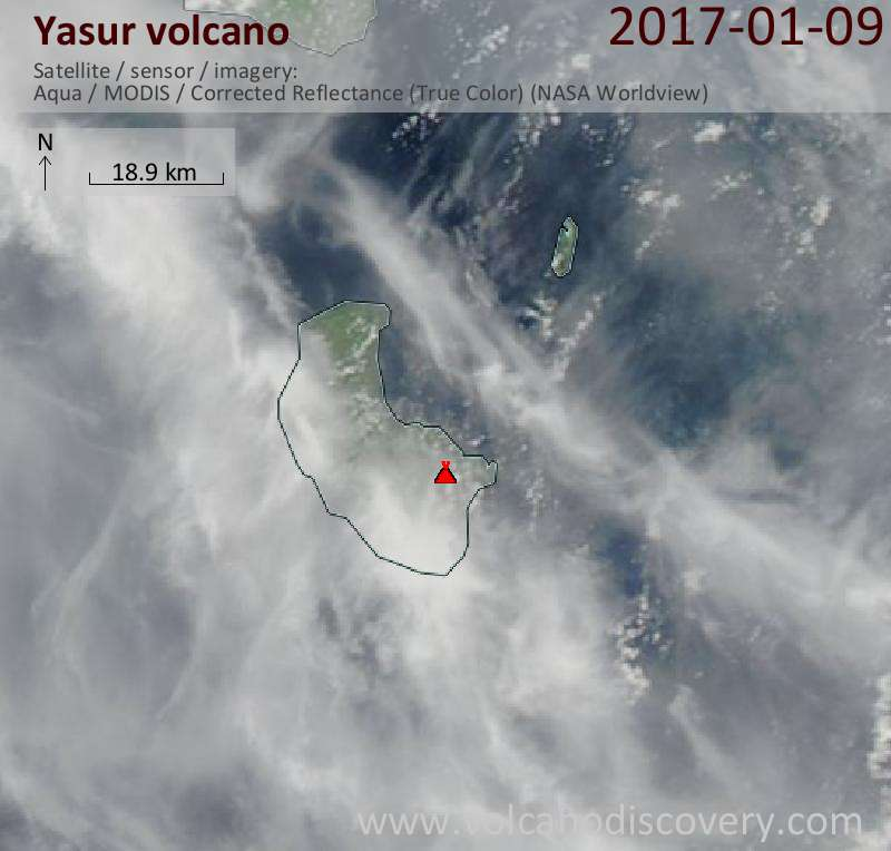 Satellite image of Yasur volcano on  9 Jan 2017