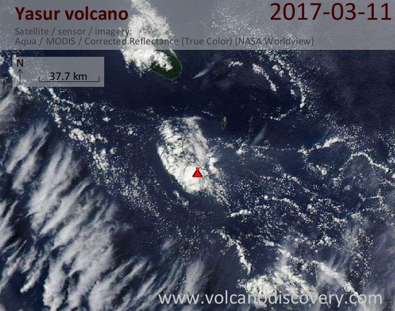 Satellite image of Yasur volcano on 11 Mar 2017