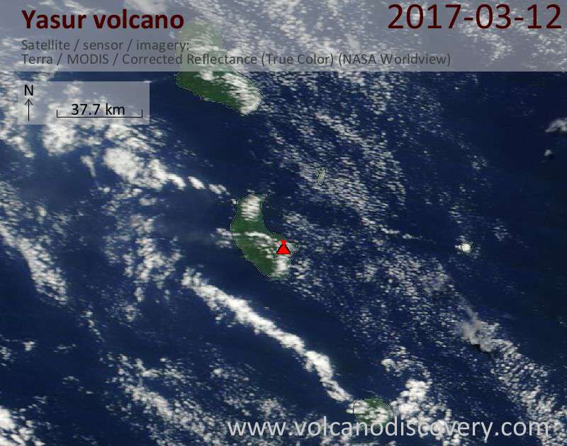 Satellite image of Yasur volcano on 12 Mar 2017