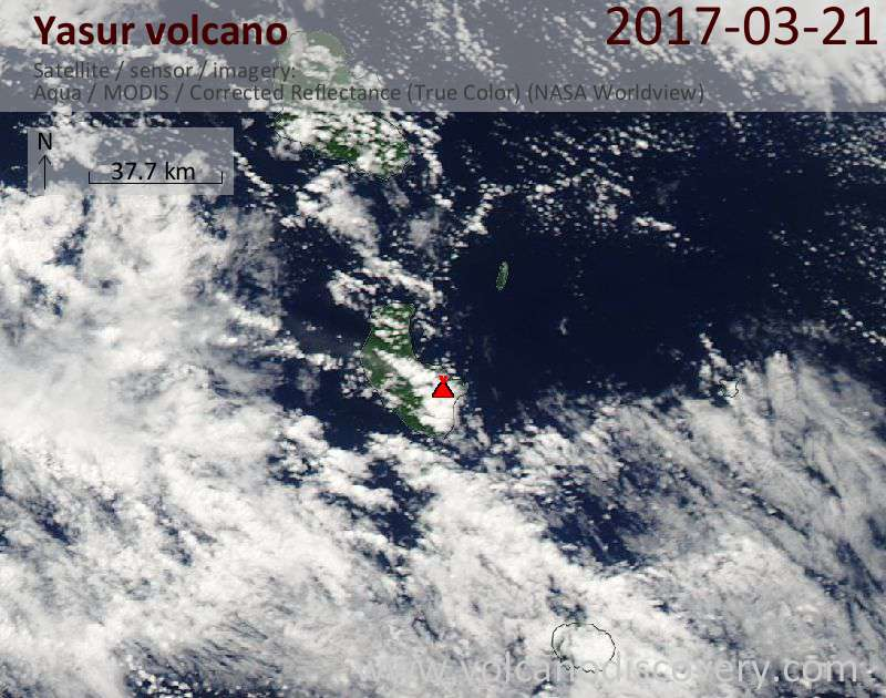 Satellite image of Yasur volcano on 21 Mar 2017