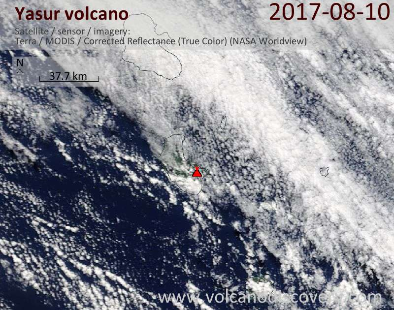 Satellite image of Yasur volcano on 10 Aug 2017