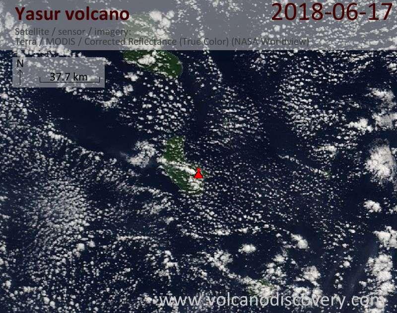 Satellite image of Yasur volcano on 17 Jun 2018