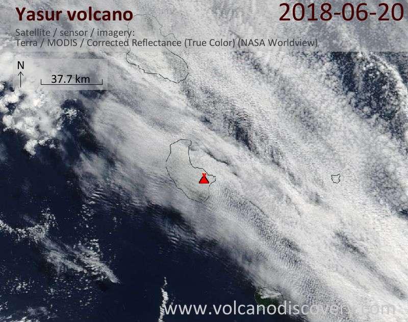Satellite image of Yasur volcano on 20 Jun 2018