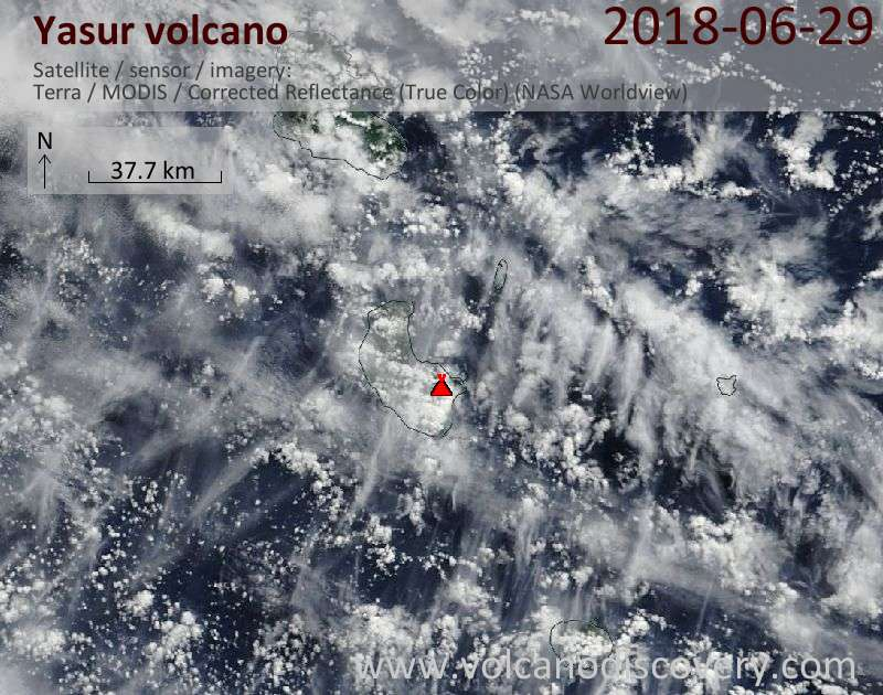 Satellite image of Yasur volcano on 29 Jun 2018